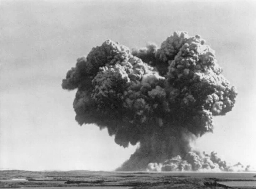Oct. 3, 1952: 'Operation Hurricane' mushroom cloud rises above Trimouille in the Monte Islands - Photo: Wikipedia, others. 2560. Contained in the hull of the frigate HMS PLYM and detonated almosty 3m below the surface of the sea, Britain's 25kt explosion was of about the same size as Nagasaki.  The ship was used due to Cold War fears that Britain could be attacked by a nuclear weapon smuggled into a strategic poirt by a ship.