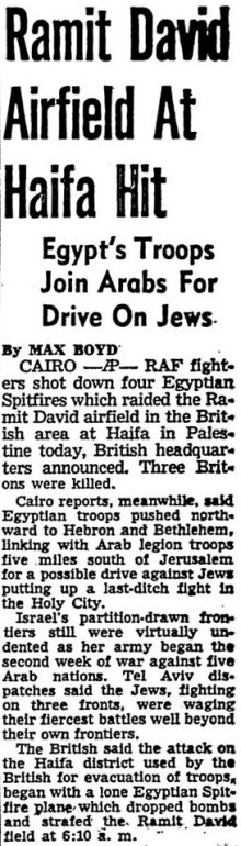 AP report on Ramit David attack May 22 1948