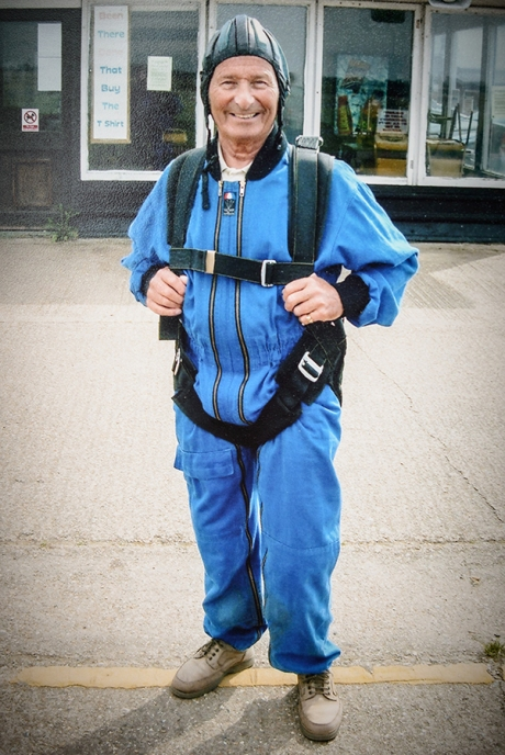 Stanley David preparing for 14000 feet freefall on 80th Birthday 2005
