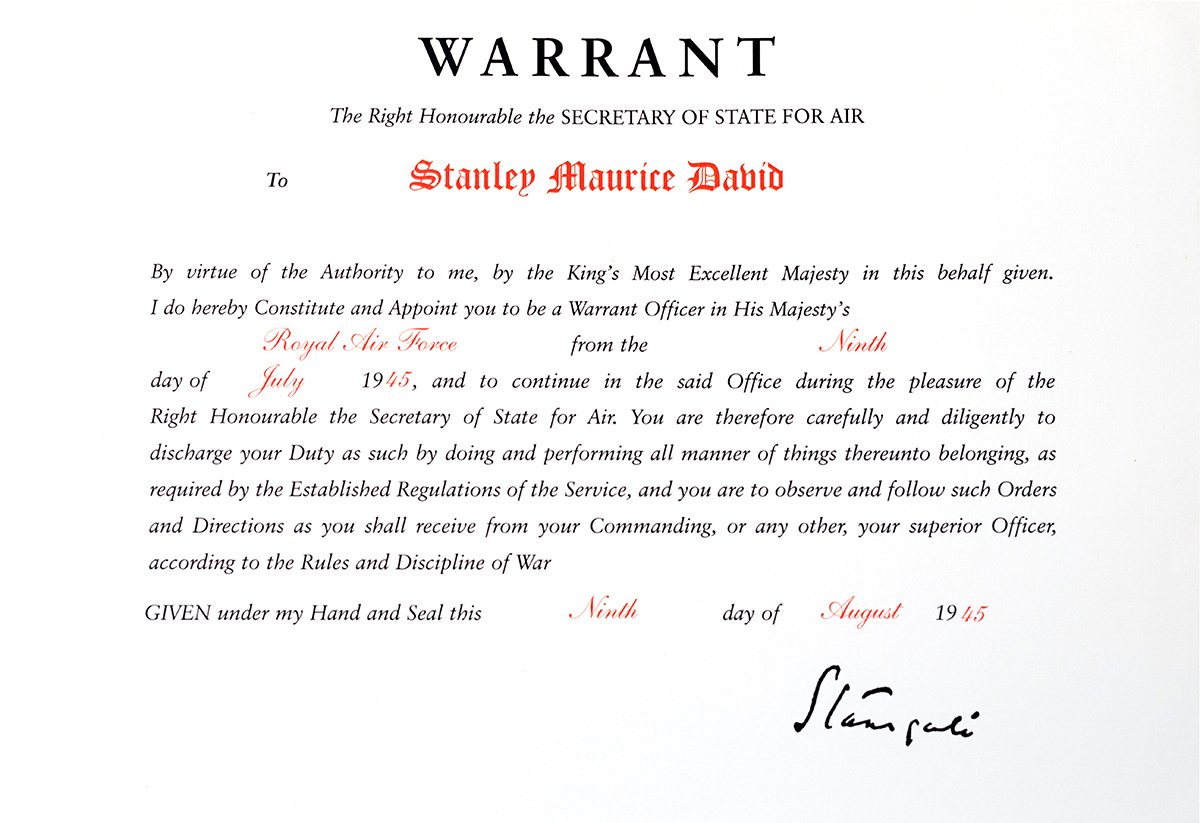 Stanley David appointment as Warrant Officer